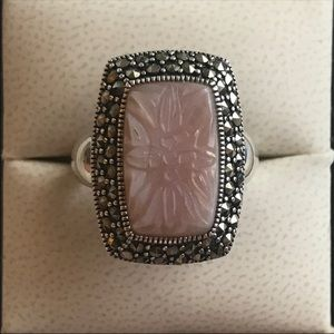 Vintage Pink Mother of Pearl Ring 925